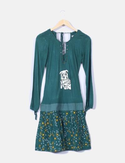 Vestido verde combinado pana By lu