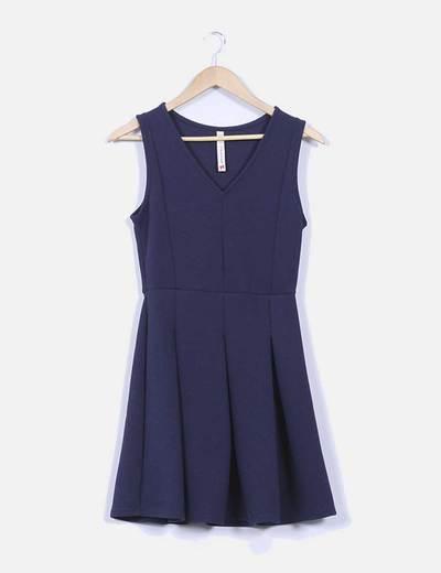 Vestido azul marino avolantado,  creppé Springfield
