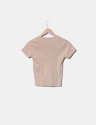 Camiseta de punto camel con destellos dorados