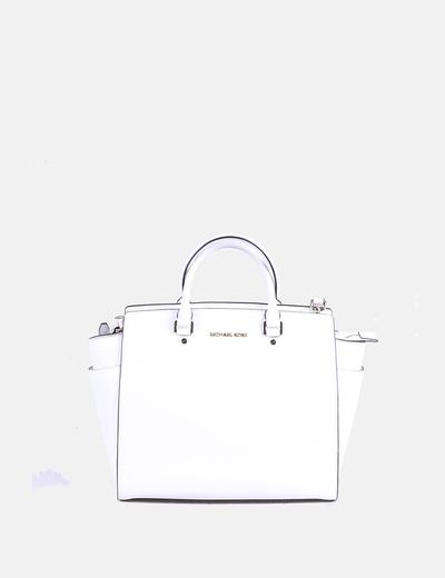 Saffiano white leather bag selma Michael Kors