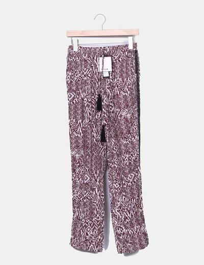 Pantalons couleur bordeau ethniques amples VILA