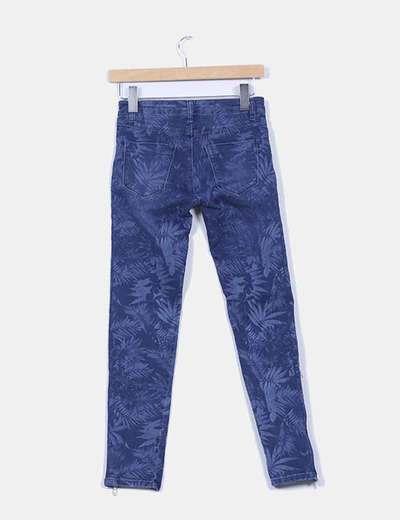 Jeans denim pitillo estampado