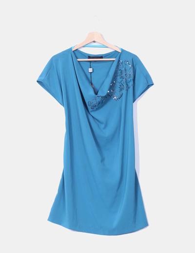 Robe bleue avec l'huile de paillettes Koralline