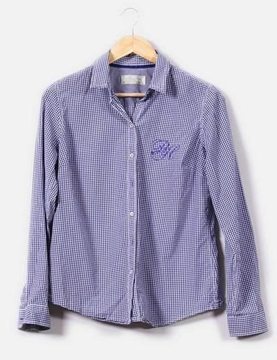 Camisa de cuadritos azul marino y blanco Pedro del Hierro