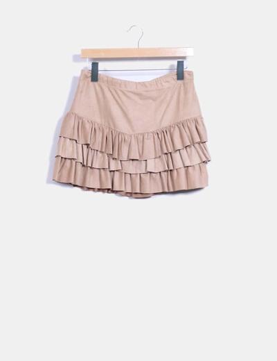 Falda con volantes marrón de antelina Shana