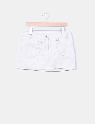 Mini falda beige bolsillos Mango