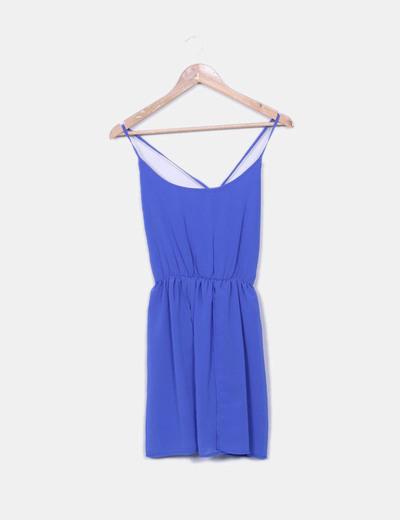 Vestido azul de tirantes fluido Shana