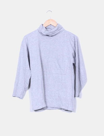 Camiseta gris jaspeada manga larga bolsillo Together!