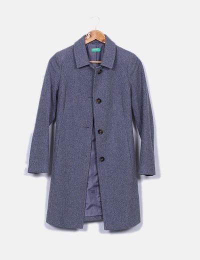 Manteau long gris tissu Benetton