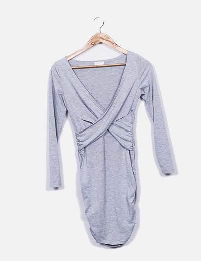 Vestido gris escote pico Sheinside