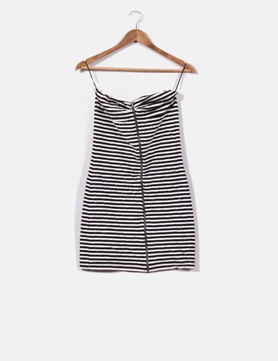 Mini vestido texturizado de rayas  Bershka