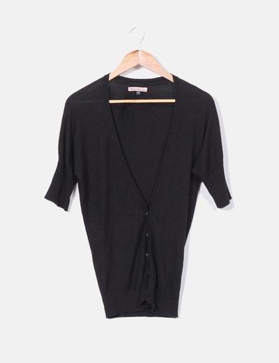 Cárdigan tricot negro manga corta Bershka