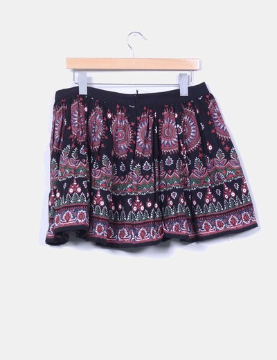 Mini falda negra estampado cachemira