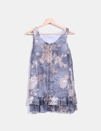 Blusa gris de gasa floreada Swallow