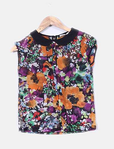 Blusa estampado multicolor solapas negro Lefties