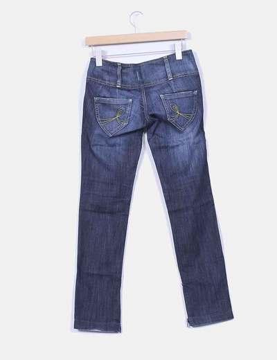Jeans denim con cremalleras