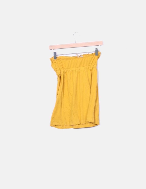 6aa177a7d Stradivarius Tops Amarilla Mujer Online Camiseta Palabra De Honor q1X7xa