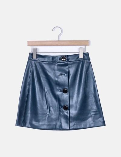 Mini falda polipiel azul petróleo