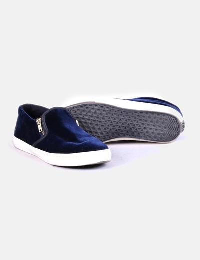 Zapatilla azul velvet con cremallera