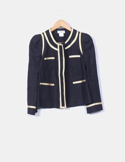 Conjunto vestido y chaqueta ejecutivo de lino ribetes dorados