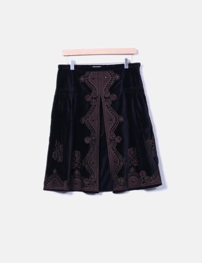 Falda de terciopelo con abalorios Pedro del Hierro
