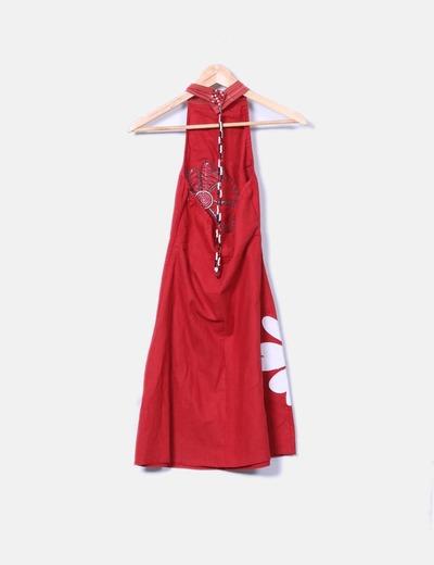 Vestido midi rojo cuello halter
