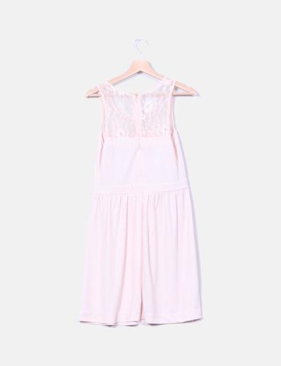 mayor descuento venta de bajo precio barato mejor valorado Vestido rosa palo escote encaje