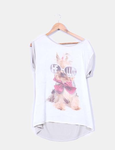 Camiseta oversize fluida combinada print perro Waipaï