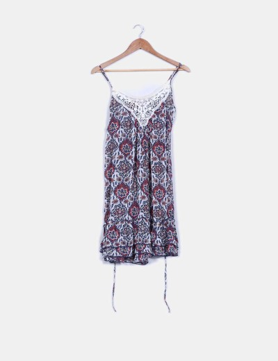 Vestido floral detalles crochet semitransparente Pepe Jeans