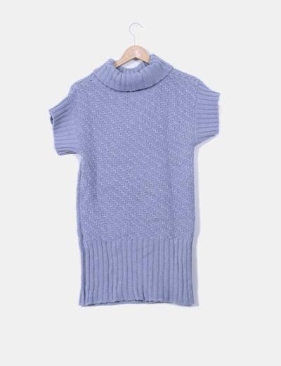 Vestido tricot azul con cuello
