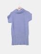 Vestido tricot azul con cuello Cortefiel