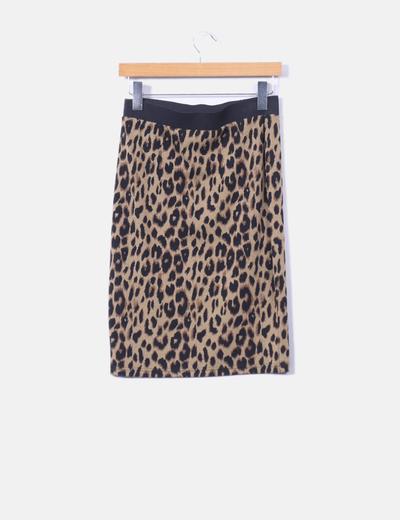 Falda elastica tricot animal print