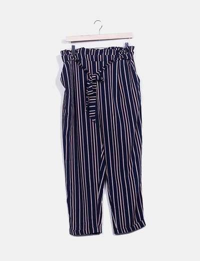 Pantalón fluido azul raya