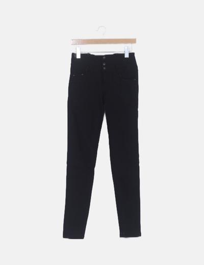 Jeans negro cintura alta elástico