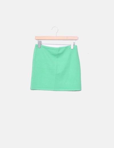 Mini falda tricot verde