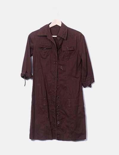 Vestido camisero marrón