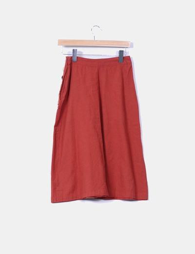 Falda midi color teja