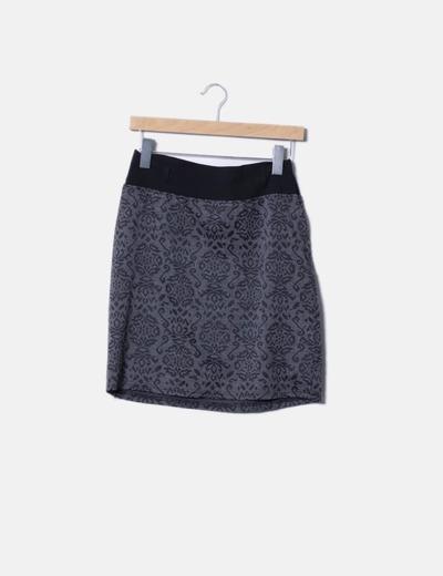 Falda gris estampada Trucco