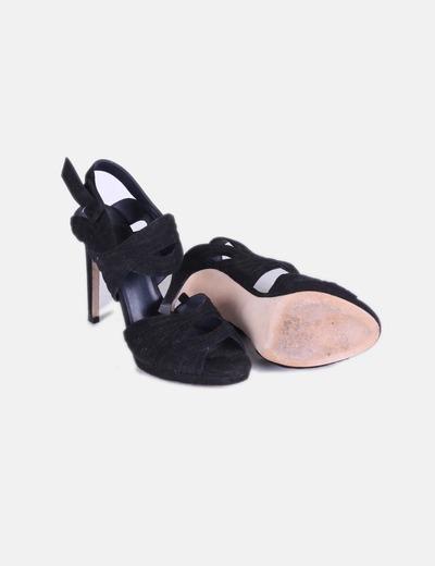 Sandalias tiras de antelina negras