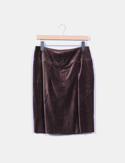 Falda midi marrón aterciopelada Angel Schlesser
