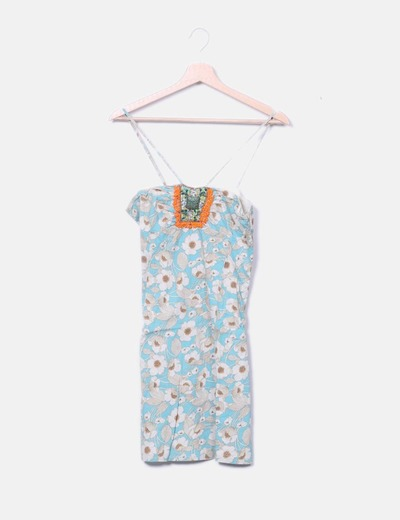 Camiseta larga azul floral abalorios