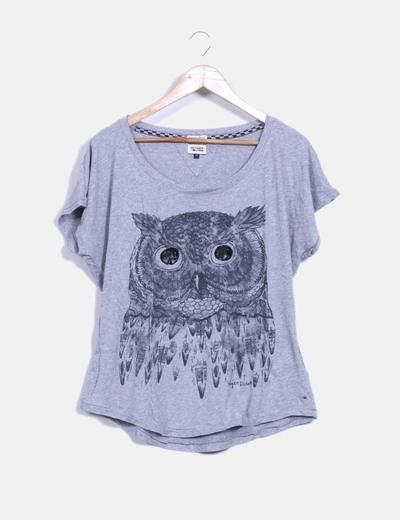 Camiseta gris print búho con pailettes Hilfiger Denim