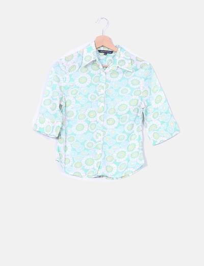 Camisa verde estampado floral  French Connection