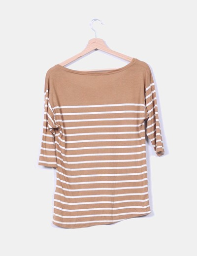 Camiseta camel de rayas manga francesa