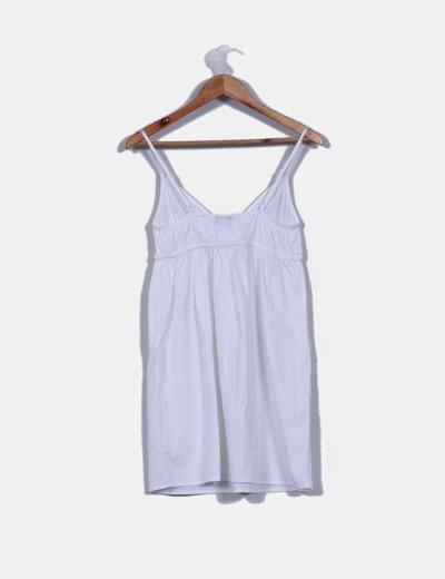 Vestido mini blanco escote en pico