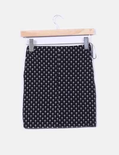 Falda elastica negra print cruces