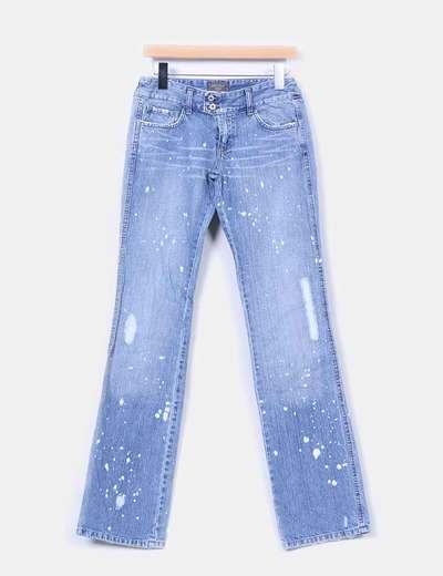 Jeans denim recto efecto motas Motivi