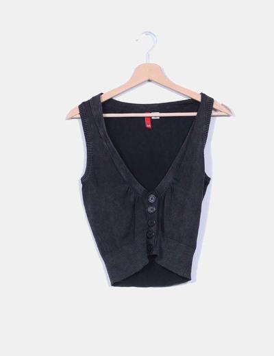 Top negro con  escote pico H&M