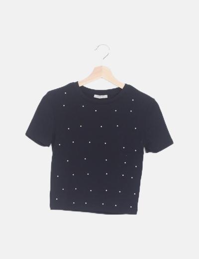 Camiseta negra perlada