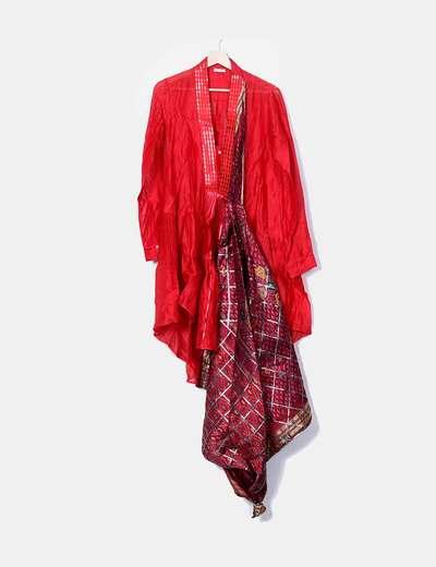 Red shirt dress combined ZAITEGUI